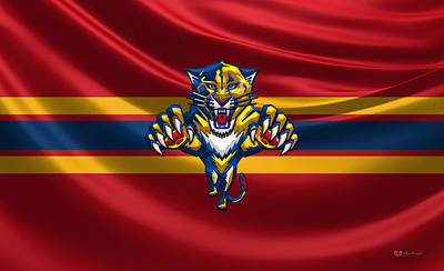 Florida Panthers - 3 D Badge Over Silk Flag Original by Serge Averbukh