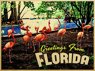 Florida Pink Flamingos Print by Flo Karp