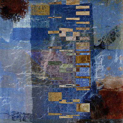 Abstract Montage Mixed Media - Flotsam Square Format by Carol Leigh