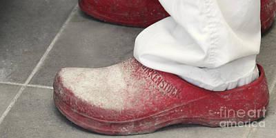Flour Spills On The Baker's Shoes Print by Oren Shalev