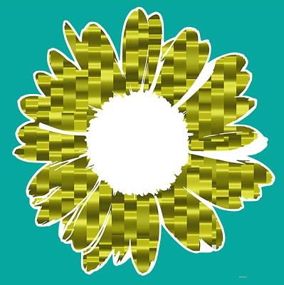 Flower 1 Yellow Blue Print by Alberto  RuiZ