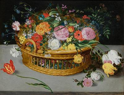 Flower Painting - Flower Basket On A Table by Celestial Images