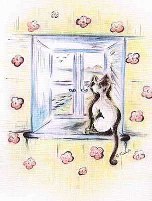 Ledge Drawing - Flower - Cat  by Teresa White
