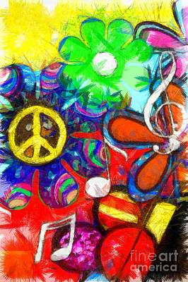 Colorful Abstract Drawing - Flower Child Peace Love Pencil by Edward Fielding
