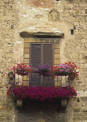 Flower Covered Balcony Print by Axiom Photographic