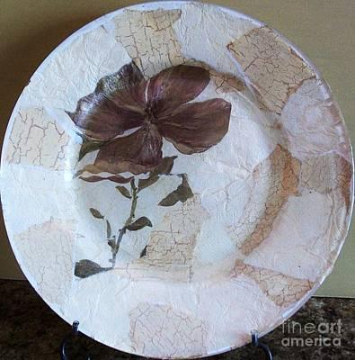 Flower Decopage Plate Print by Marsha Heiken