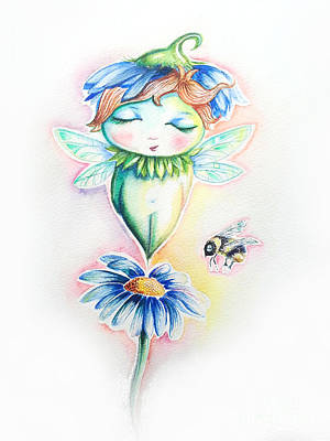 Flower Fairy Print by Willow Heath