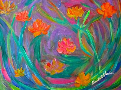 Green Painting - Flower Fancy Stage One by Kendall Kessler