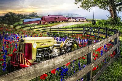 Flower Farm Print by Debra and Dave Vanderlaan