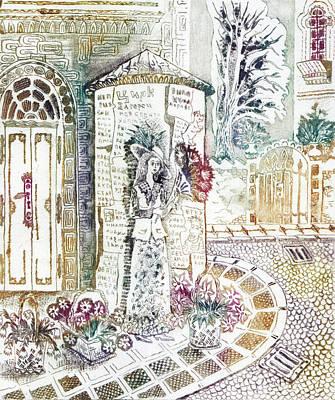 Girl Drawing - Flower-girl by Milen Litchkov