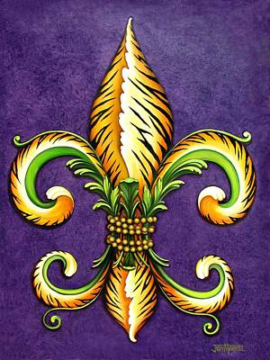 Fleur De Lis Painting - Flower Of New Orleans Lsu by Judy Merrell