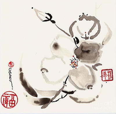 Sumi Painting - Flower Of White by Casey Shannon
