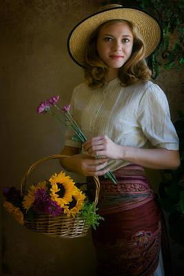 Woman Photograph - Flower Peddler by Jean Hildebrant