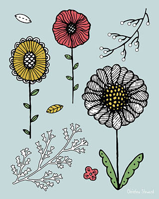 Berry Drawing - Flower Play by Christina Steward
