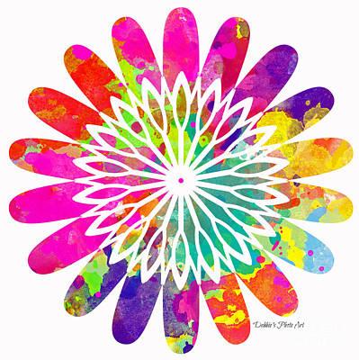 Flower Power 2 - Digital Paint Print by Debbie Portwood