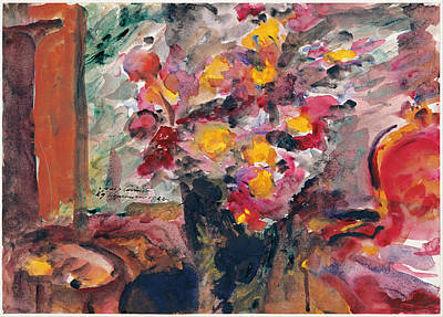 Lovis Corinth Painting - Flower Vase On A Table by Lovis Corinth