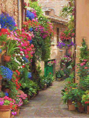 Flower Alley Italy Print by Impressionist Art