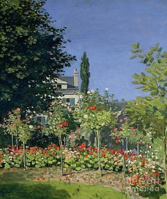 Claude Painting - Flowering Garden At Sainte-adresse by Claude Monet