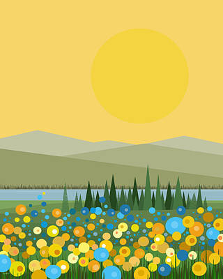 Flowers After The Rain Print by Val Arie