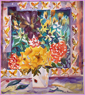 Irises Drawing - Flowers And Butterflies by Mindy Newman