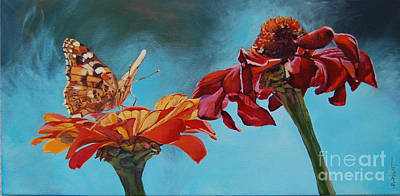 Flowers And Butterfly Print by Janice Wright