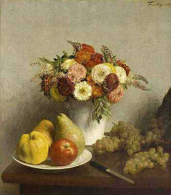 Henri Fantin-latour Painting - Flowers And Fruit by Henri Fantin-Latour