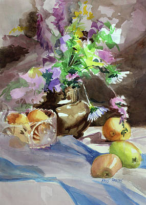 Pears Painting - Flowers And Fruit by Kris Parins