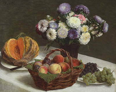 Meal Painting - Flowers And Fruits by Ignace Henri Jean Fantin-Latour
