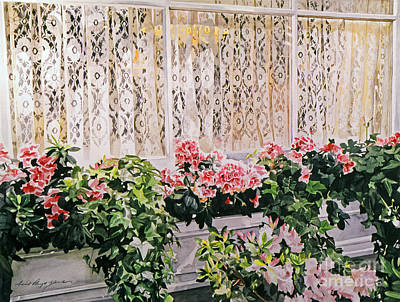 Flower Boxes Painting - Flowers And Lace by David Lloyd Glover