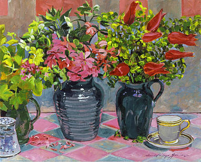 Flowers And Pitchers Print by David Lloyd Glover