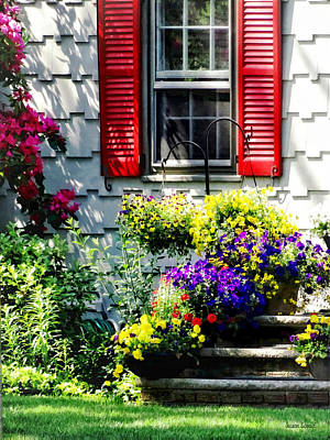 Flowers And Red Shutters Print by Susan Savad