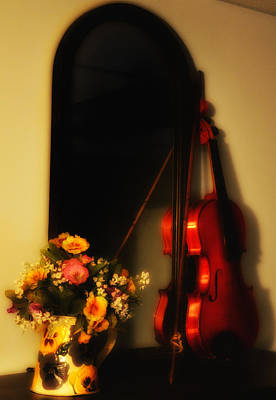 Violin Digital Art - Flowers And Violin by Bill Cannon