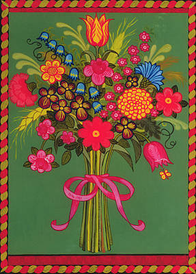 Bouquets Of Pink Flowers Green Blue Painting - Flowers by Ditz