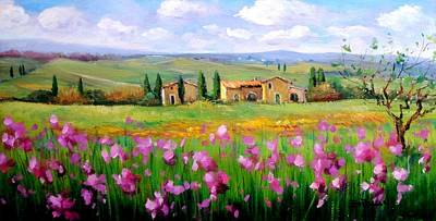 A Summer Evening Landscape Painting - Flowers Field by Bruno Chirici