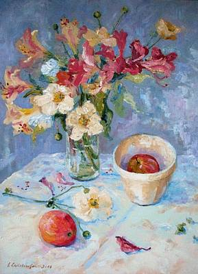 Flowers, Fruit And Mixing Bowl Print by Elinor Fletcher