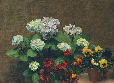 Pansy Painting - Flowers  Hydrangea, Wallflowers, Two Pots Of Pansies by Ignace Henri Jean Fantin-Latour