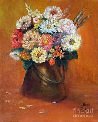 Flowers In A Metal Vase  Original by Marlene Book