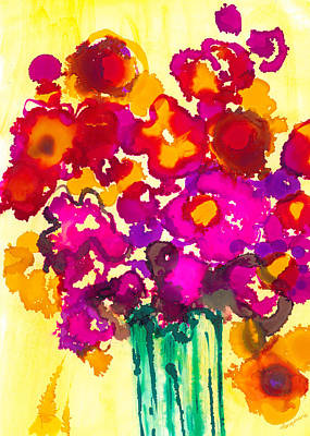 Floral Ring Painting - Flowers In A Vase - Modern Art by Patricia Awapara