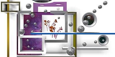 Composition Digital Art - Flowers In Space With Silver Balls 1 by Alberto  RuiZ