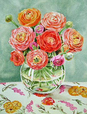 Ranunculus Painting - Flowers In The Glass Vase by Irina Sztukowski