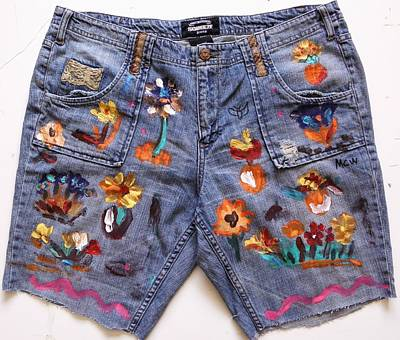 Denim Drawing - Flowers In The Recycle Garden by Mary Carol Williams