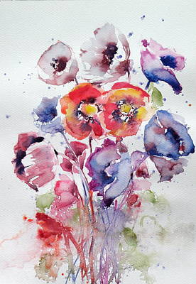 Blue Poppies Painting - Flowers by Kovacs Anna Brigitta