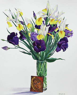 Glass Drawing - Flowers With Face From An Icon by Christopher Ryland