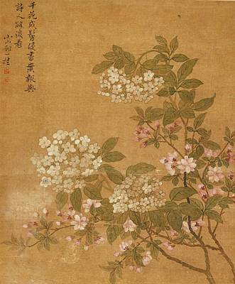Poster Painting - Flowers by Zou Yigui