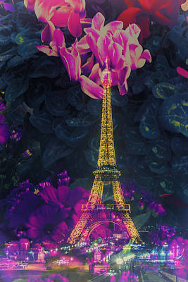 Vertical Photograph - Flowery Eiffel by Andrew Soundarajan