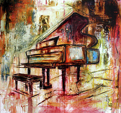 Cello Painting - Flowing Notes by Ivan Guaderrama