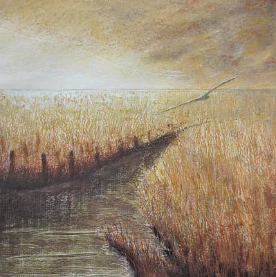 Collagraph Painting - Flowing To The Sea II by Lisa Le Quelenec