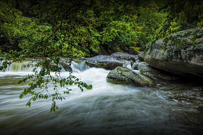 Flowing Water On The Rocky Broad River Print by Randall Nyhof