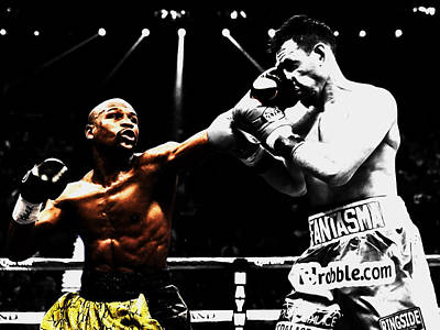 Floyd Mayweather And Guerrero Print by Brian Reaves