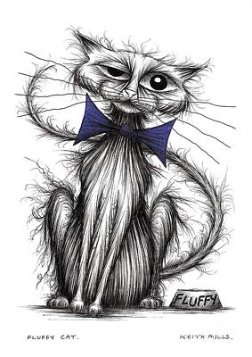 Moggy Drawing - Fluffy Cat by Keith Mills